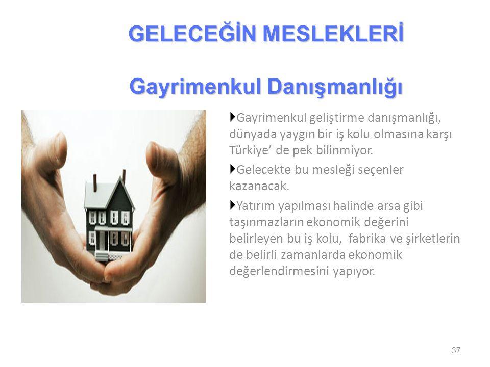  Gayrimenkul geliştirme danışmanlığı, dünyada yaygın bir iş kolu olmasına karşı Türkiye' de pek bilinmiyor.  Gelecekte bu mesleği seçenler kazanacak