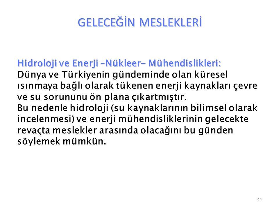 GELECEĞİN MESLEKLERİ 41 Hidroloji ve Enerji –Nükleer- Mühendislikleri: Dünya ve Türkiyenin gündeminde olan küresel ısınmaya bağlı olarak tükenen enerj