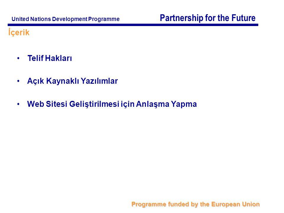 Partnership for the Future Programme funded by the European Union United Nations Development Programme Anlaşmanın İçeriği Nasıl Belirlenebilir.