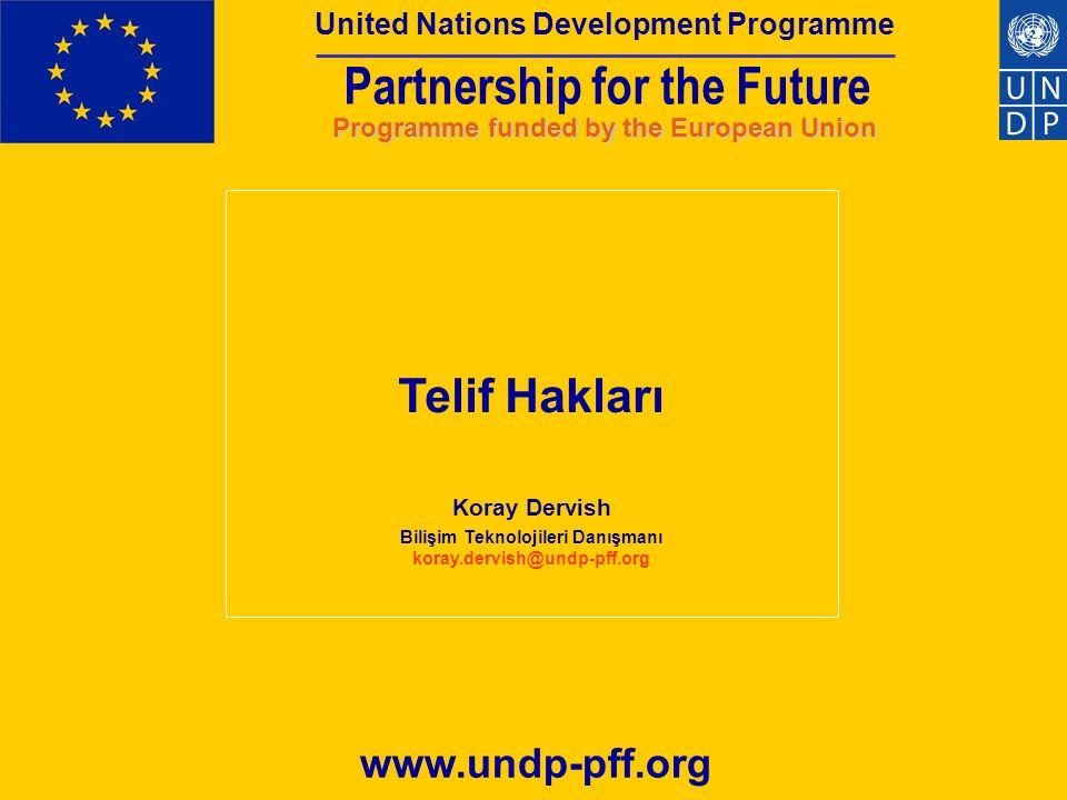 Partnership for the Future Programme funded by the European Union United Nations Development Programme Telif Hakları Telif Hakkı Nedir.