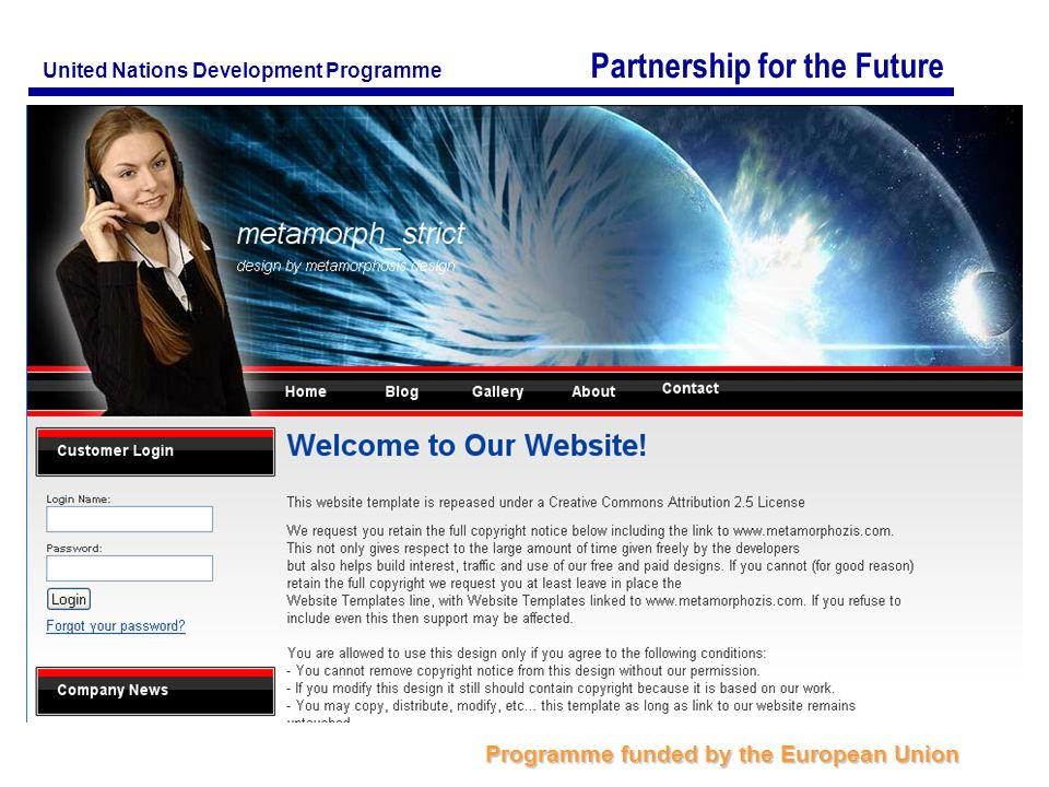 Partnership for the Future Programme funded by the European Union United Nations Development Programme
