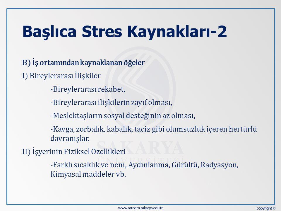 Başlıca Stres Kaynakları-2 B) İş ortamından kaynaklanan öğeler I) Bireylerarası İlişkiler -Bireylerarası rekabet, -Bireylerarası ilişkilerin zayıf olm