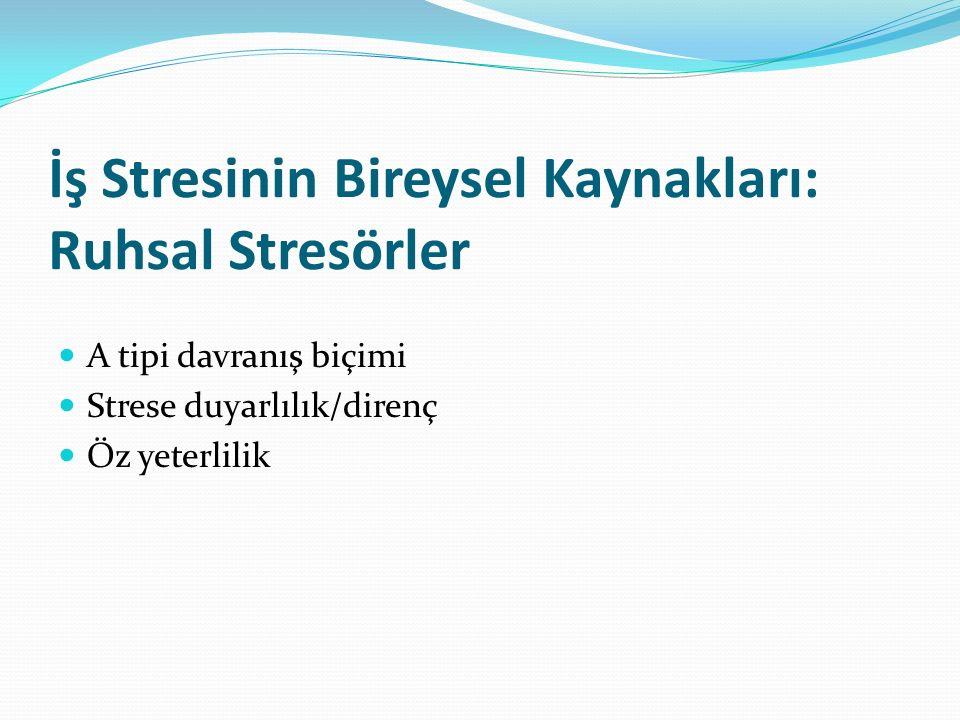 İş Stresinin Bireysel Kaynakları: Ruhsal Stresörler A tipi davranış biçimi Strese duyarlılık/direnç Öz yeterlilik