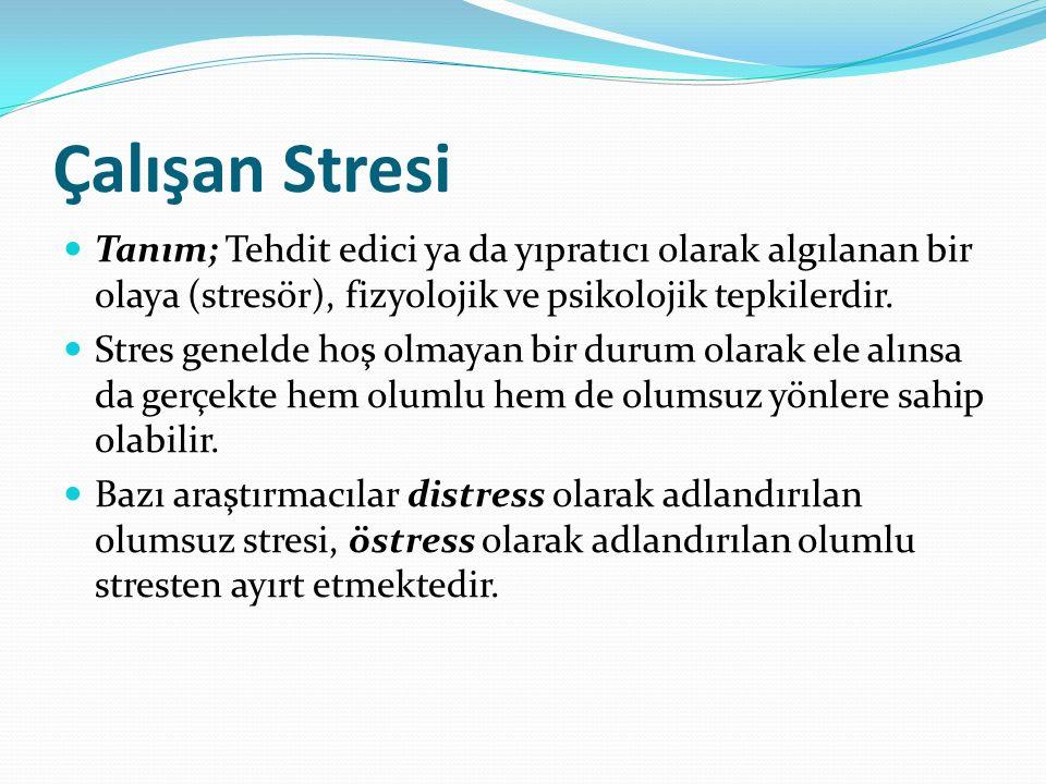 Çalışan Stresi Tanım; Tehdit edici ya da yıpratıcı olarak algılanan bir olaya (stresör), fizyolojik ve psikolojik tepkilerdir.