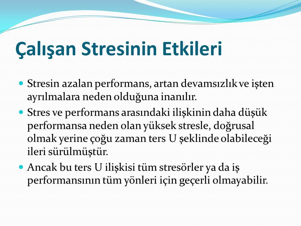 Çalışan Stresinin Etkileri Stresin azalan performans, artan devamsızlık ve işten ayrılmalara neden olduğuna inanılır.