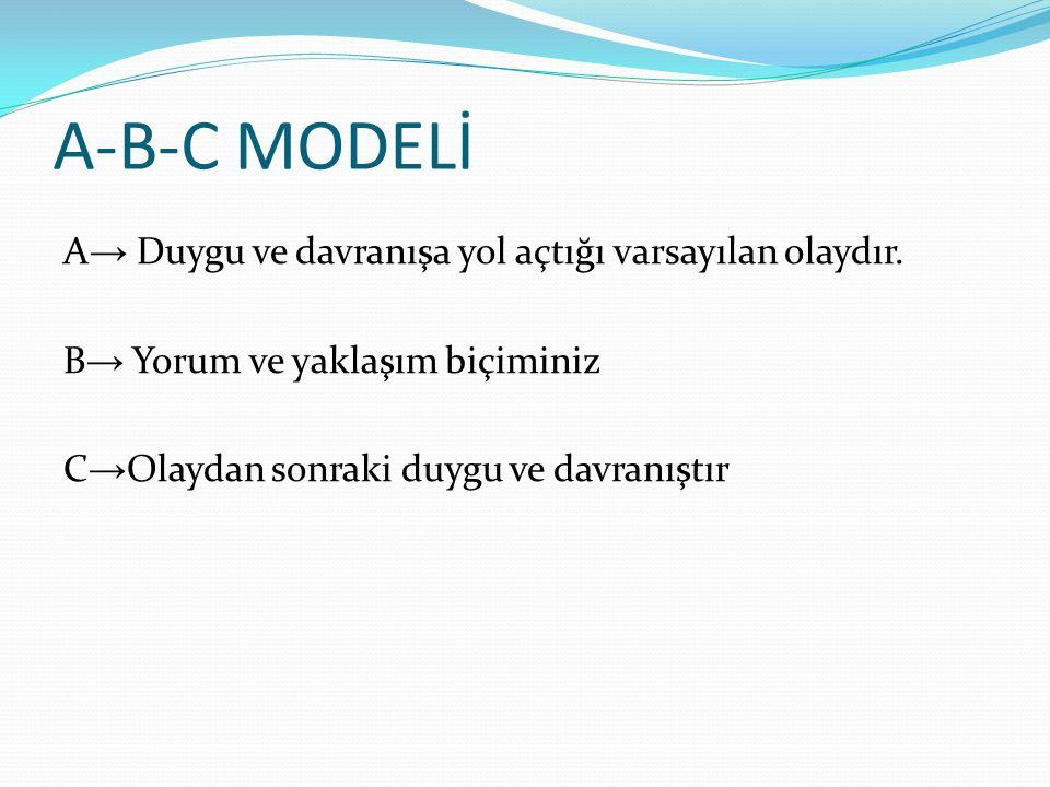 A-B-C MODELİ A → Duygu ve davranışa yol açtığı varsayılan olaydır.
