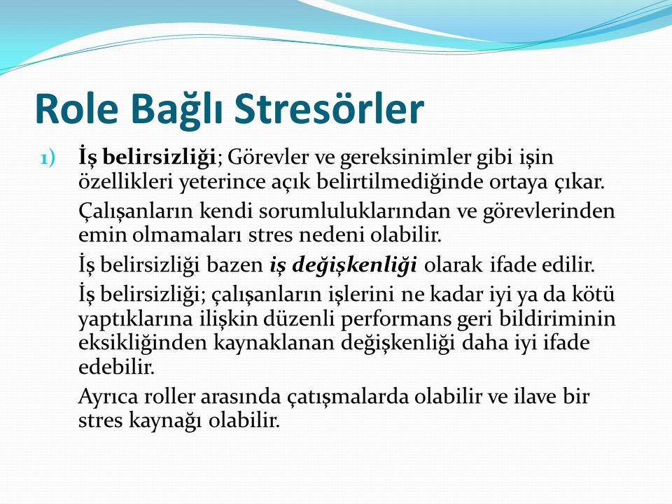 Role Bağlı Stresörler 1) İş belirsizliği; Görevler ve gereksinimler gibi işin özellikleri yeterince açık belirtilmediğinde ortaya çıkar.