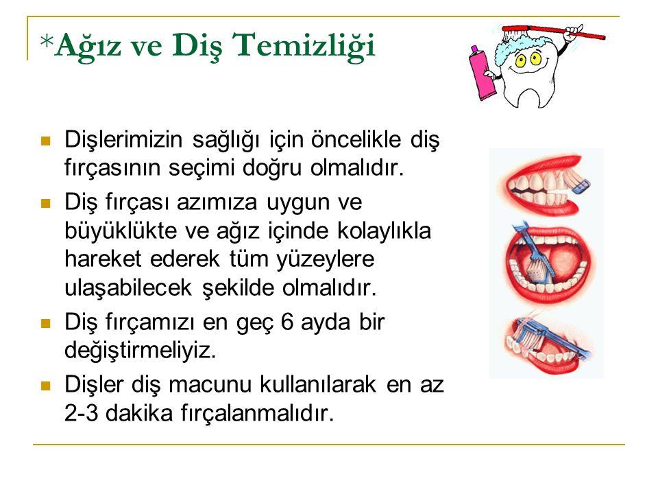 *Ağız ve Diş Temizliği Dişlerimizin sağlığı için öncelikle diş fırçasının seçimi doğru olmalıdır. Diş fırçası azımıza uygun ve büyüklükte ve ağız için
