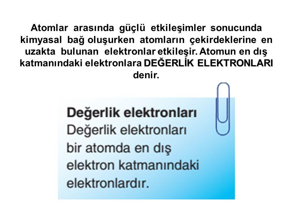 DEĞERLİK ELEKTRONLARI Atomlar arasında güçlü etkileşimler sonucunda kimyasal bağ oluşurken atomların çekirdeklerine en uzakta bulunan elektronlar etki