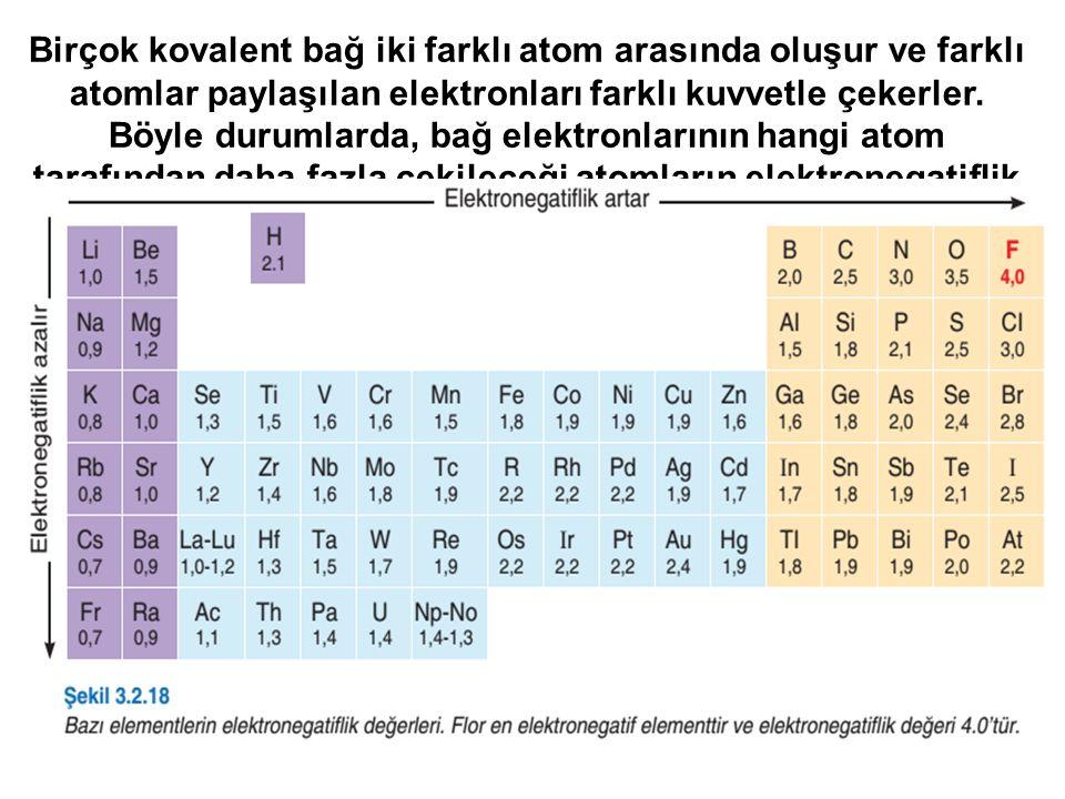 Birçok kovalent bağ iki farklı atom arasında oluşur ve farklı atomlar paylaşılan elektronları farklı kuvvetle çekerler. Böyle durumlarda, bağ elektron