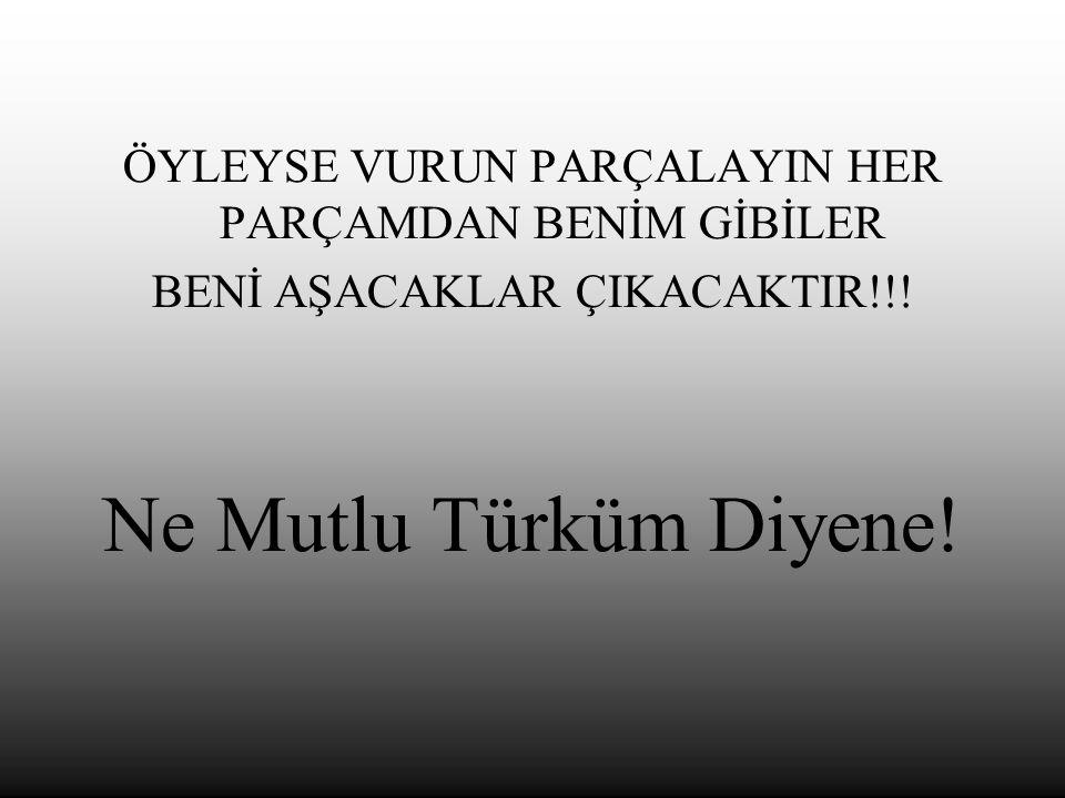 ÖYLEYSE VURUN PARÇALAYIN HER PARÇAMDAN BENİM GİBİLER BENİ AŞACAKLAR ÇIKACAKTIR!!.