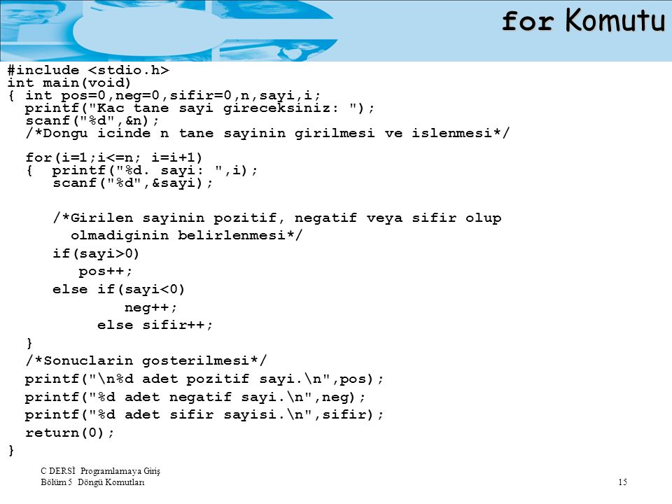 C DERSİ Programlamaya Giriş Bölüm 5 Döngü Komutları 15 for Komutu #include int main(void) { int pos=0,neg=0,sifir=0,n,sayi,i; printf(
