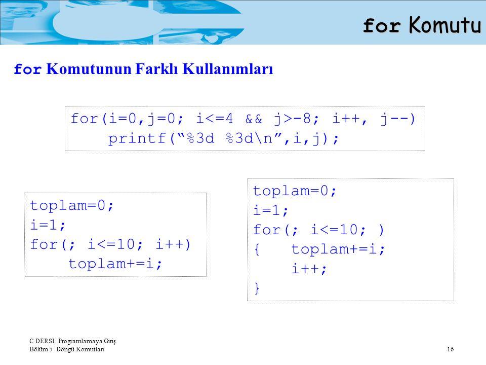 C DERSİ Programlamaya Giriş Bölüm 5 Döngü Komutları 16 for Komutu for(i=0,j=0; i -8; i++, j--) printf( %3d %3d\n ,i,j); toplam=0; i=1; for(; i<=10; i++) toplam+=i; toplam=0; i=1; for(; i<=10; ) { toplam+=i; i++; } for Komutunun Farklı Kullanımları