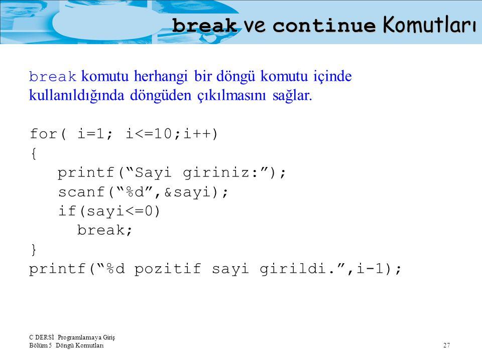 C DERSİ Programlamaya Giriş Bölüm 5 Döngü Komutları 27 break ve continue Komutları break komutu herhangi bir döngü komutu içinde kullanıldığında döngüden çıkılmasını sağlar.