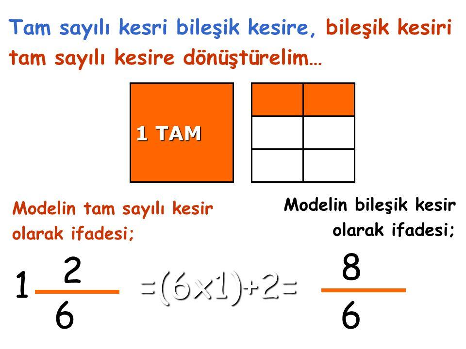 2 6 1 Tam sayılı kesri bileşik kesire, bileşik kesiri tam sayılı kesire dönüştürelim… 8 6 Modelin tam sayılı kesir olarak ifadesi; 1 TAM Modelin bileşik kesir olarak ifadesi; =(6x1)+2=