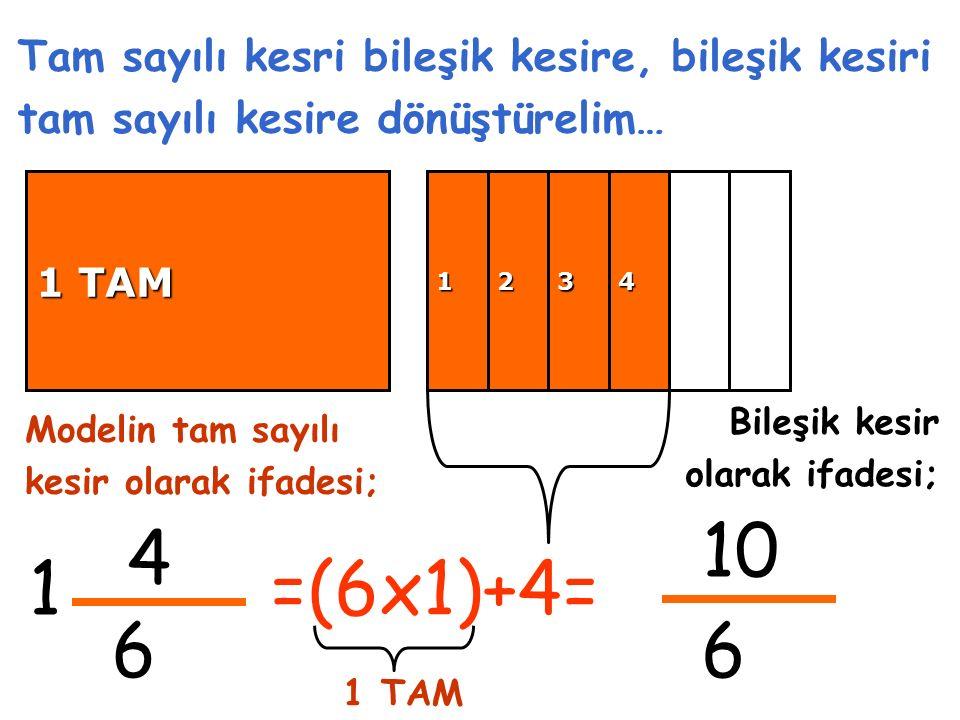 4 6 1 Tam sayılı kesri bileşik kesire, bileşik kesiri tam sayılı kesire dönüştürelim… 10 6 Modelin tam sayılı kesir olarak ifadesi; Bileşik kesir olarak ifadesi; =(6x1)+4= 1234 1 TAM 1 TAM