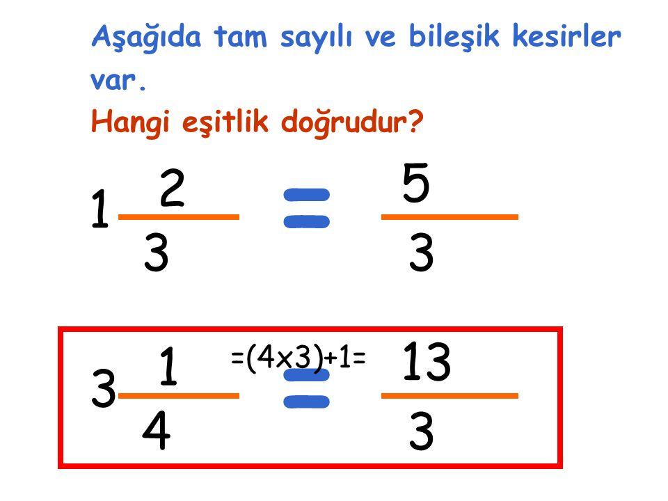 2 3 1 Aşağıda tam sayılı ve bileşik kesirler var. Hangi eşitlik doğrudur.