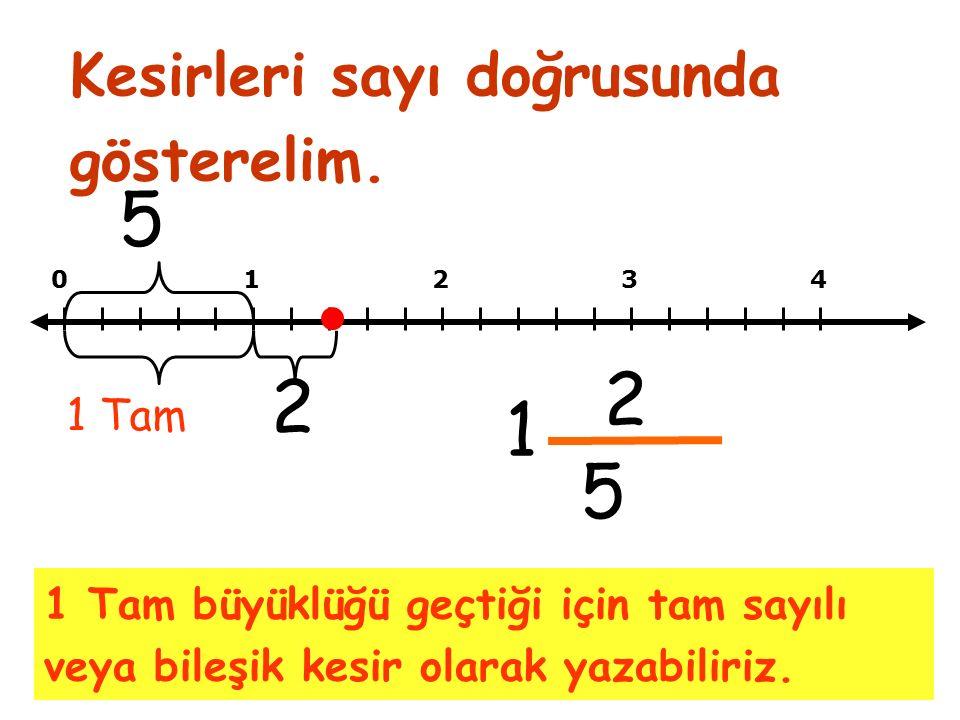 1 Tam büyüklüğü geçtiği için tam sayılı veya bileşik kesir olarak yazabiliriz.