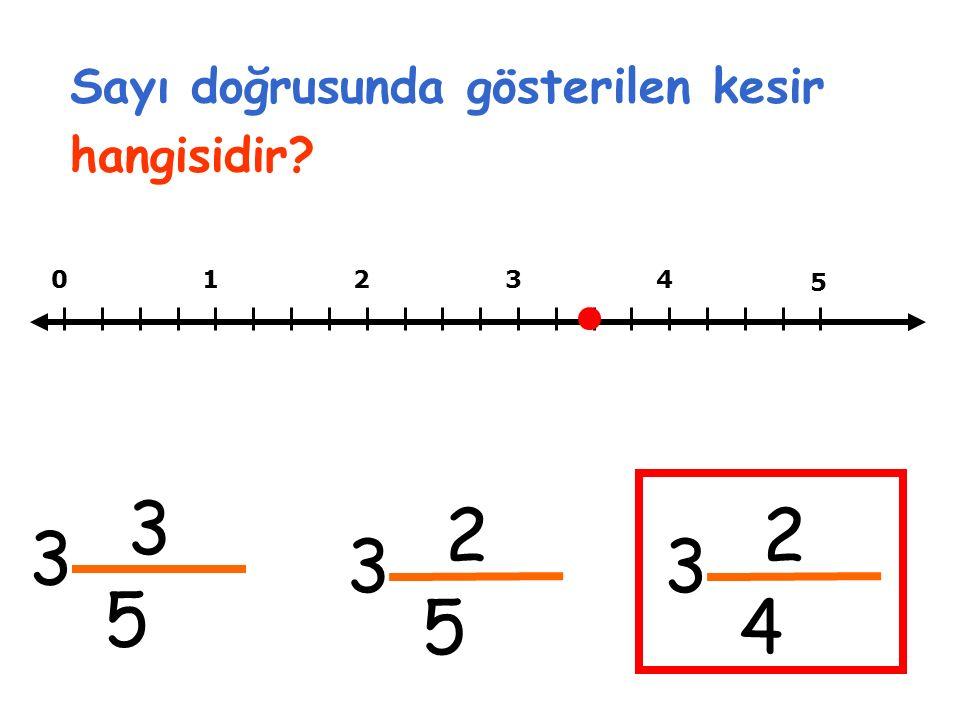 Sayı doğrusunda gösterilen kesir hangisidir? 01234 3 5 3 5 2 5 3 2 4 3