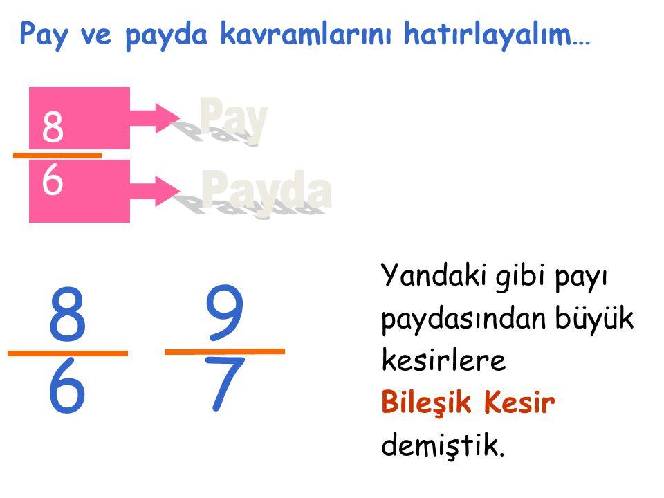 Pay ve payda kavramlarını hatırlayalım… 8 6 2 6 Bileşik kesirlerin bir başka ifadesi Tam Sayılı Kesir şeklindedir.