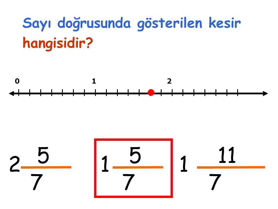 Sayı doğrusunda gösterilen kesir hangisidir 012 5 7 2 5 7 1 11 7 1