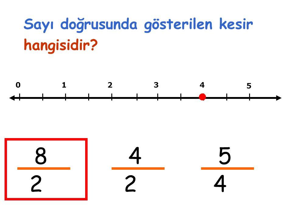 01234 8 2 5 4 2 5 4 Sayı doğrusunda gösterilen kesir hangisidir?