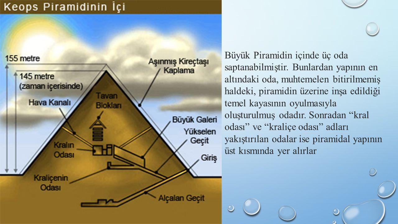 Büyük Piramidin içinde üç oda saptanabilmiştir.