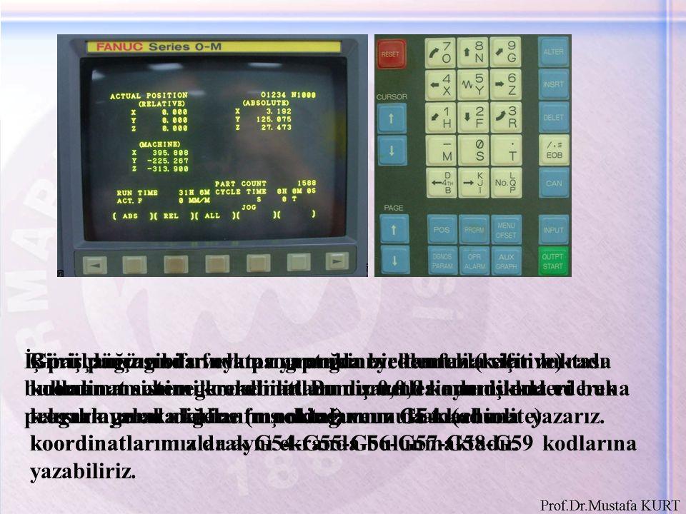Makine koordinatlarını küçük bir kağıda not aldıktan sonra programımızda kullandığımız G54 koordinatına yazmak için ilk önce MENU OFFSET tuşuna basarız.