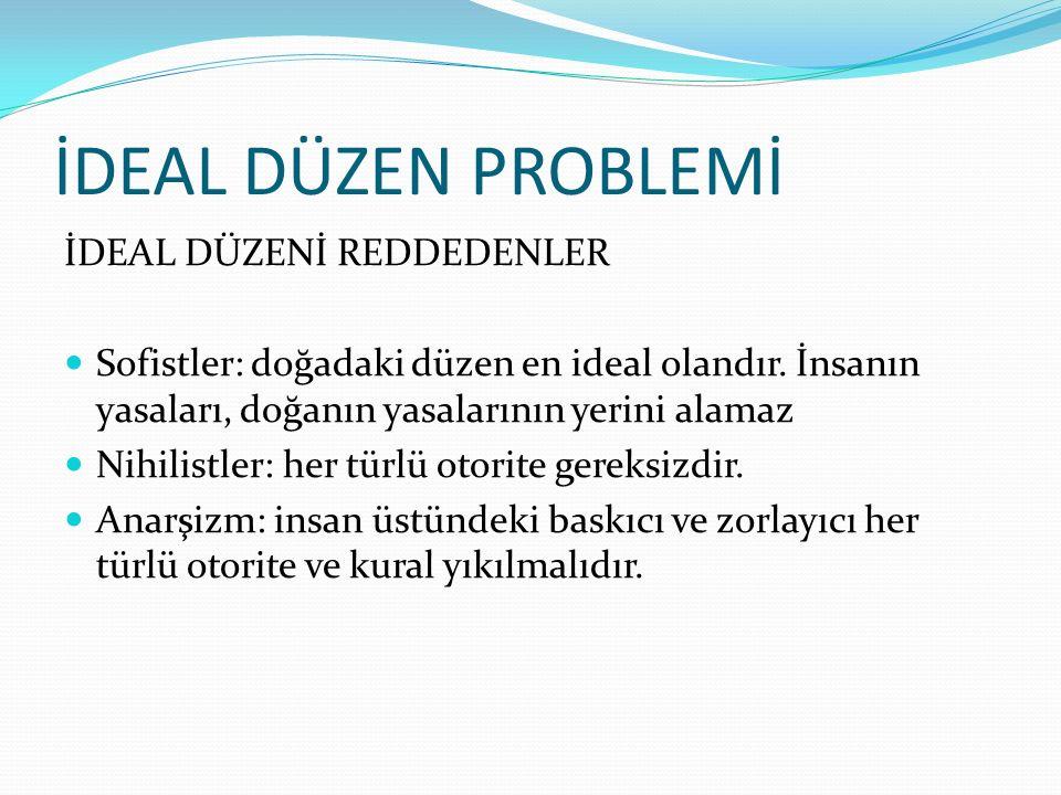 İDEAL DÜZEN PROBLEMİ İDEAL DÜZENİ REDDEDENLER Sofistler: doğadaki düzen en ideal olandır.