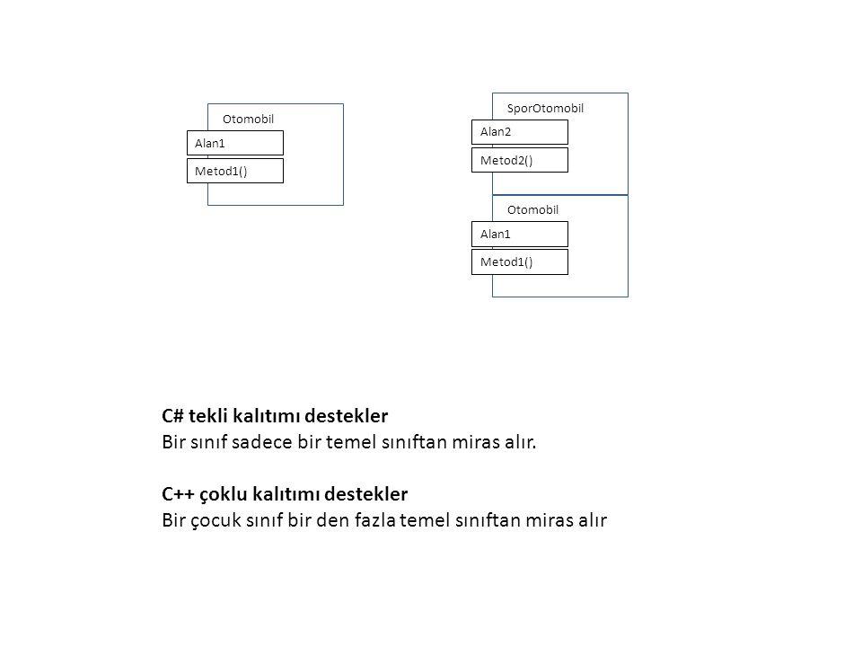 Otomobil Alan1 Metod1() SporOtomobil Alan2 Metod2() Otomobil Alan1 Metod1() C# tekli kalıtımı destekler Bir sınıf sadece bir temel sınıftan miras alır.
