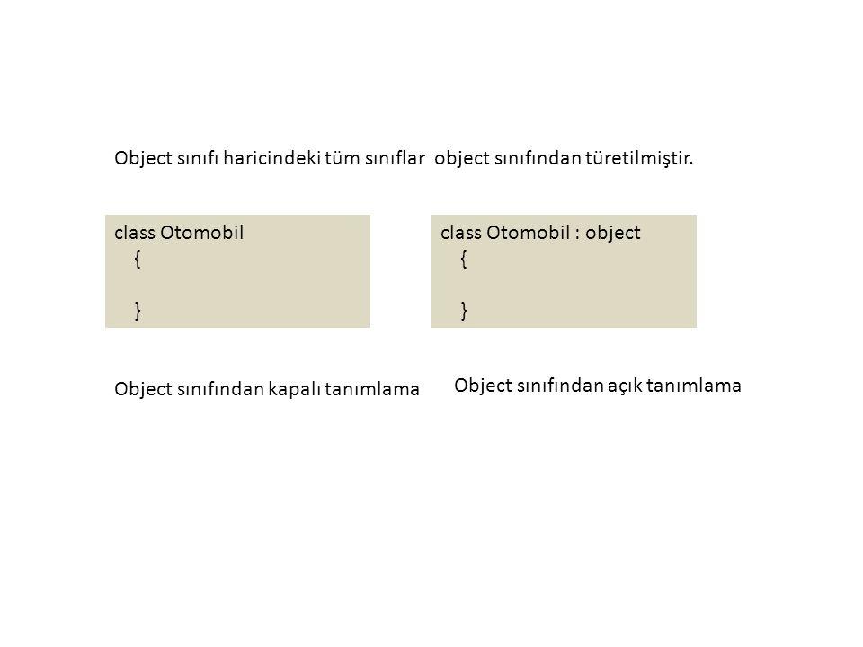 Object sınıfı haricindeki tüm sınıflar object sınıfından türetilmiştir.