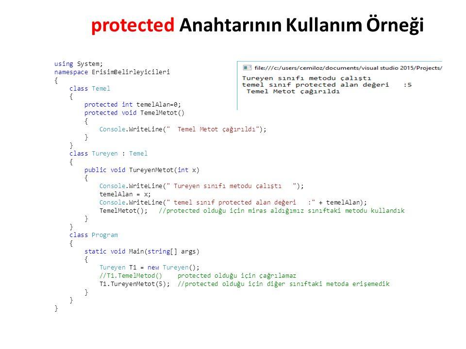 using System; namespace ErisimBelirleyicileri { class Temel { protected int temelAlan=0; protected void TemelMetot() { Console.WriteLine( Temel Metot çağırıldı ); } class Tureyen : Temel { public void TureyenMetot(int x) { Console.WriteLine( Tureyen sınıfı metodu çalıştı ); temelAlan = x; Console.WriteLine( temel sınıf protected alan değeri : + temelAlan); TemelMetot(); //protected olduğu için miras aldığımız sınıftaki metodu kullandık } class Program { static void Main(string[] args) { Tureyen T1 = new Tureyen(); //T1.TemelMetod() protected olduğu için çağrılamaz T1.TureyenMetot(5); //protected olduğu için diğer sınıftaki metoda erişemedik } protected Anahtarının Kullanım Örneği