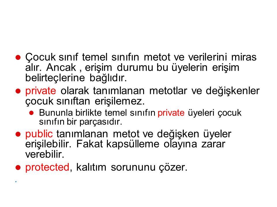 using System; using System.Collections.Generic; using System.Linq; using System.Text; namespace Kalitim { class Otomobil { // temel sınıf public string alan1 = temel sınıf alanı ; public void Metod1(string deger) { Console.WriteLine( temel sınıf -- Metod1: {0} , deger); } class SporOtomobil : Otomobil { // Türetilmiş sınıf public string alan2 = Türetilmiş sınıf alanı ; public void Metod2(string deger) { Console.WriteLine( Türetilmiş sınıf -- Metod2: {0} , deger); } class Program { static void Main() { SporOtomobil so = new SporOtomobil (); so.Metod1(so.alan1); // Temel sınıf alanı ile temel sınıf metodu so.Metod1(so.alan2); // Türemiş sınıf alanı ile temel sınıf metodu so.Metod2(so.alan1); // Türemiş sınıf metodu ile temel sınıf alanı so.Metod2(so.alan2); // Türemiş sınıf metodu ile türemiş sınıf alanı Console.ReadKey(); }