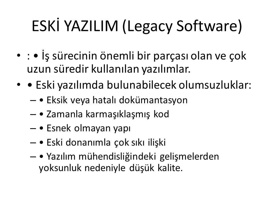 ESKİ YAZILIM (Legacy Software) : İş sürecinin önemli bir parçası olan ve çok uzun süredir kullanılan yazılımlar.