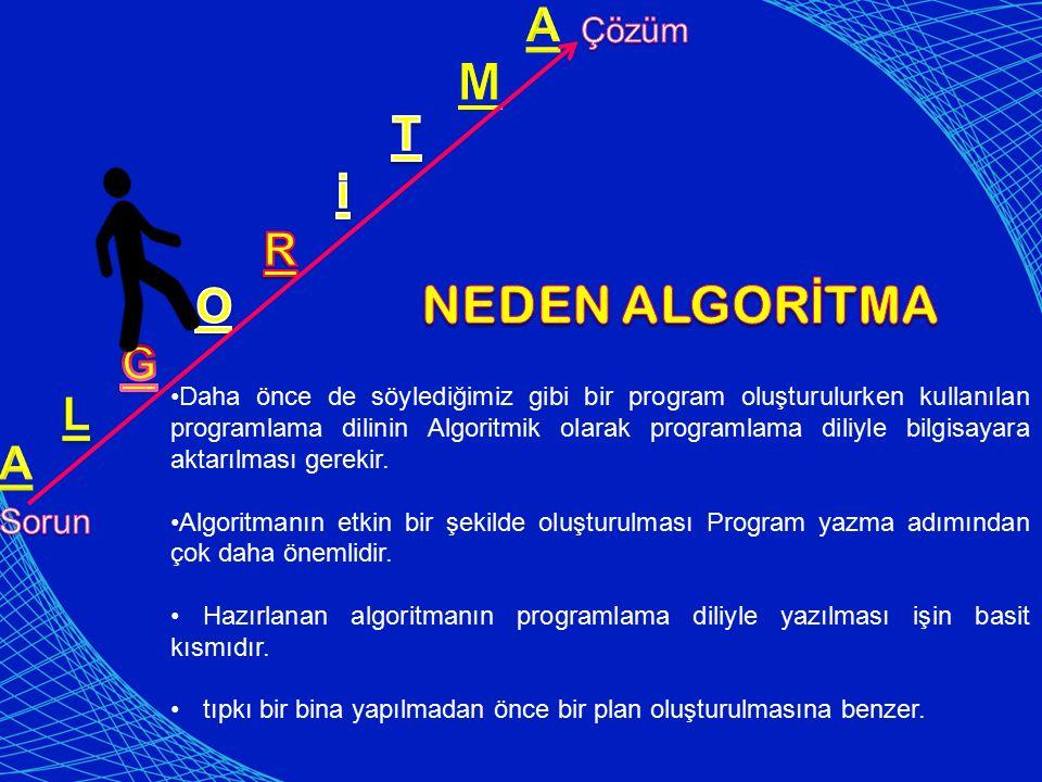 Daha önce de söylediğimiz gibi bir program oluşturulurken kullanılan programlama dilinin Algoritmik olarak programlama diliyle bilgisayara aktarılması gerekir.