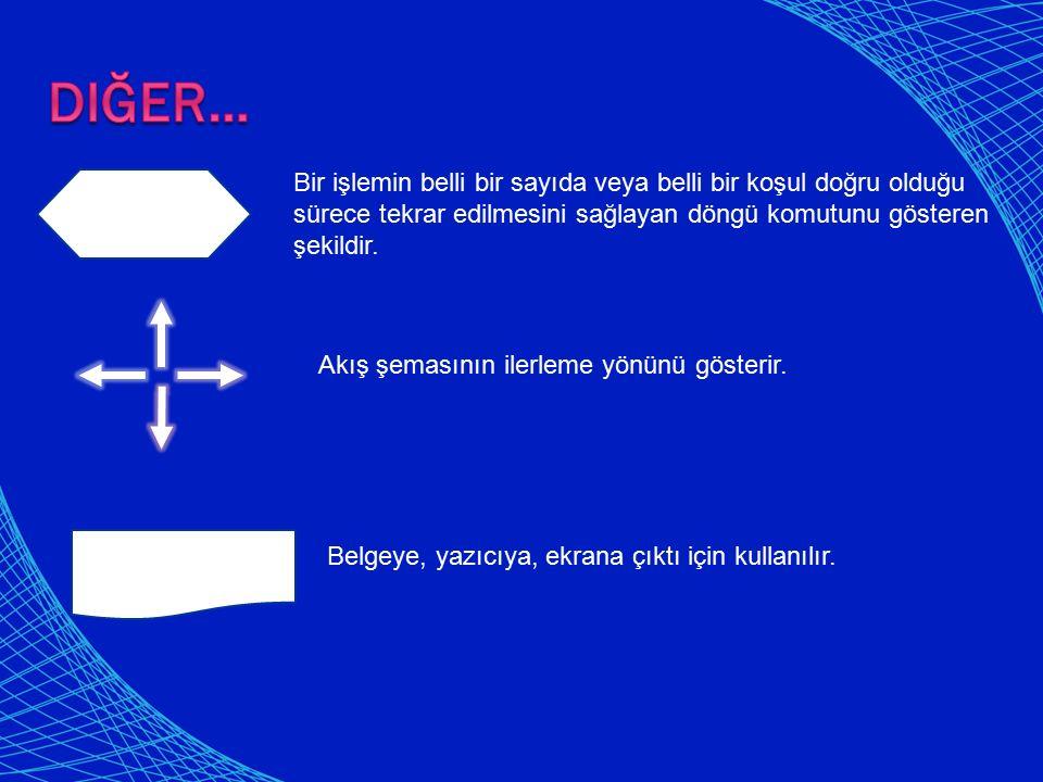 Belgeye, yazıcıya, ekrana çıktı için kullanılır. Akış şemasının ilerleme yönünü gösterir. Bir işlemin belli bir sayıda veya belli bir koşul doğru oldu