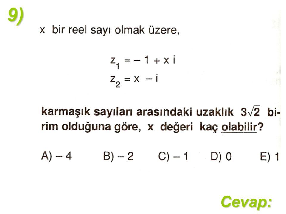 9)Cevap: