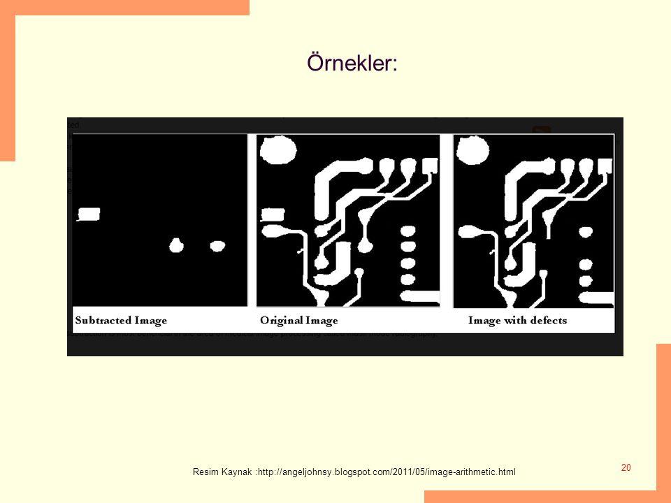 Örnekler: 20 Resim Kaynak :http://angeljohnsy.blogspot.com/2011/05/image-arithmetic.html