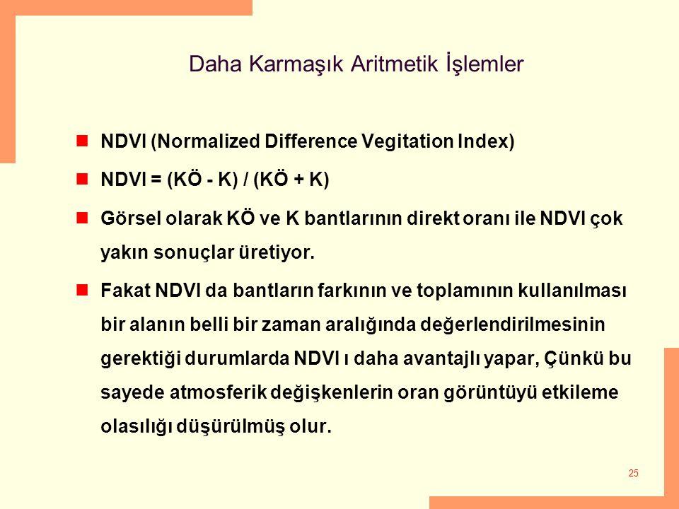 25 Daha Karmaşık Aritmetik İşlemler NDVI (Normalized Difference Vegitation Index) NDVI = (KÖ - K) / (KÖ + K) Görsel olarak KÖ ve K bantlarının direkt
