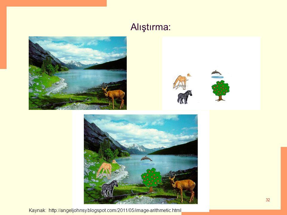 Alıştırma: 32 Kaynak: http://angeljohnsy.blogspot.com/2011/05/image-arithmetic.html
