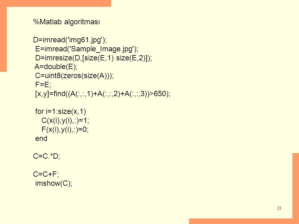 33 %Matlab algoritması D=imread('img61.jpg'); E=imread('Sample_Image.jpg'); D=imresize(D,[size(E,1) size(E,2)]); A=double(E); C=uint8(zeros(size(A)));