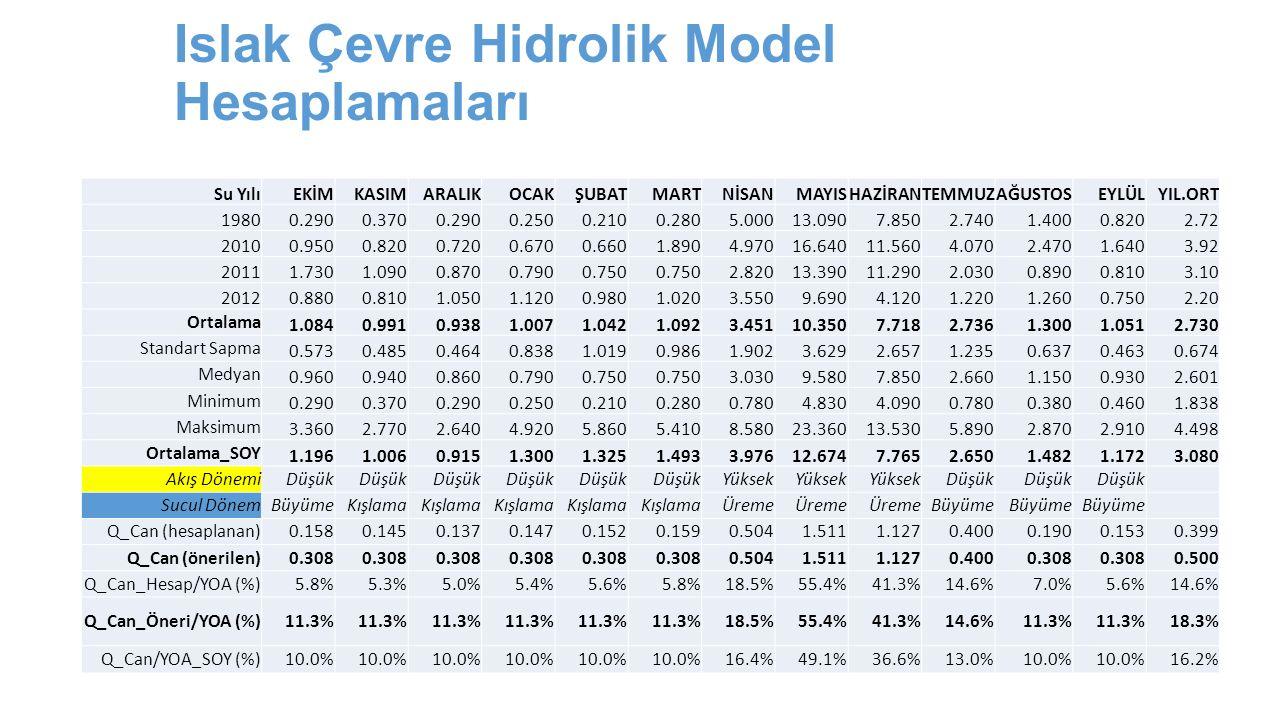 Islak Çevre Hidrolik Model Hesaplamaları Su YılıEKİMKASIMARALIKOCAKŞUBATMARTNİSANMAYISHAZİRANTEMMUZAĞUSTOSEYLÜLYIL.ORT 19800.2900.3700.2900.2500.2100.