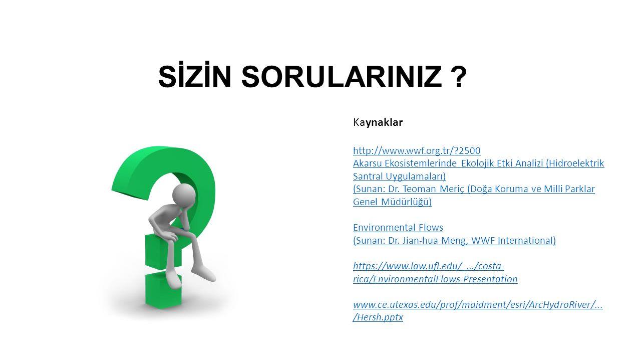SİZİN SORULARINIZ ? Kaynaklar http://www.wwf.org.tr/?2500 Akarsu Ekosistemlerinde Ekolojik Etki Analizi (Hidroelektrik Santral Uygulamaları) (Sunan: D