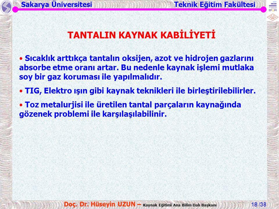 Sakarya Üniversitesi Teknik Eğitim Fakültesi /38 Doç. Dr. Hüseyin UZUN – Kaynak Eğitimi Ana Bilim Dalı Başkanı 18 TANTALIN KAYNAK KABİLİYETİ Sıcaklık