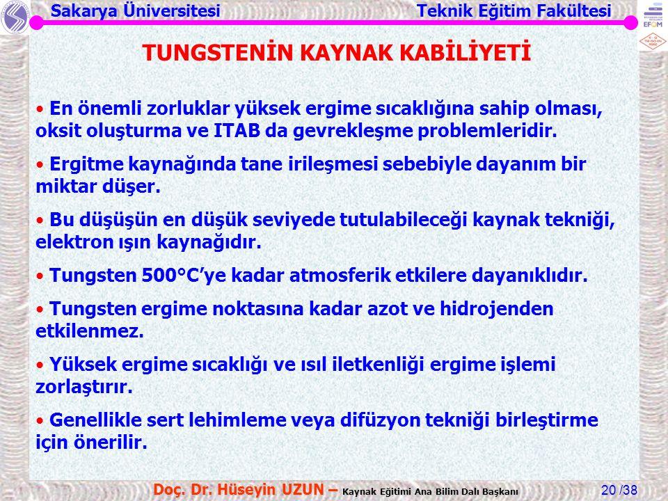 Sakarya Üniversitesi Teknik Eğitim Fakültesi /38 Doç. Dr. Hüseyin UZUN – Kaynak Eğitimi Ana Bilim Dalı Başkanı 20 TUNGSTENİN KAYNAK KABİLİYETİ En önem