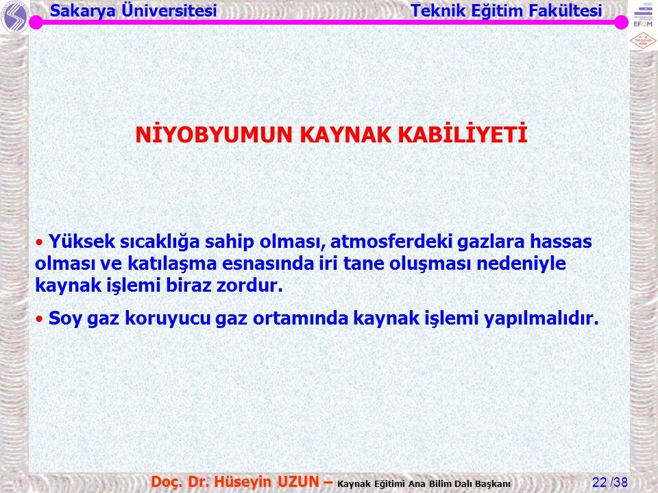 Sakarya Üniversitesi Teknik Eğitim Fakültesi /38 Doç. Dr. Hüseyin UZUN – Kaynak Eğitimi Ana Bilim Dalı Başkanı 22 NİYOBYUMUN KAYNAK KABİLİYETİ Yüksek