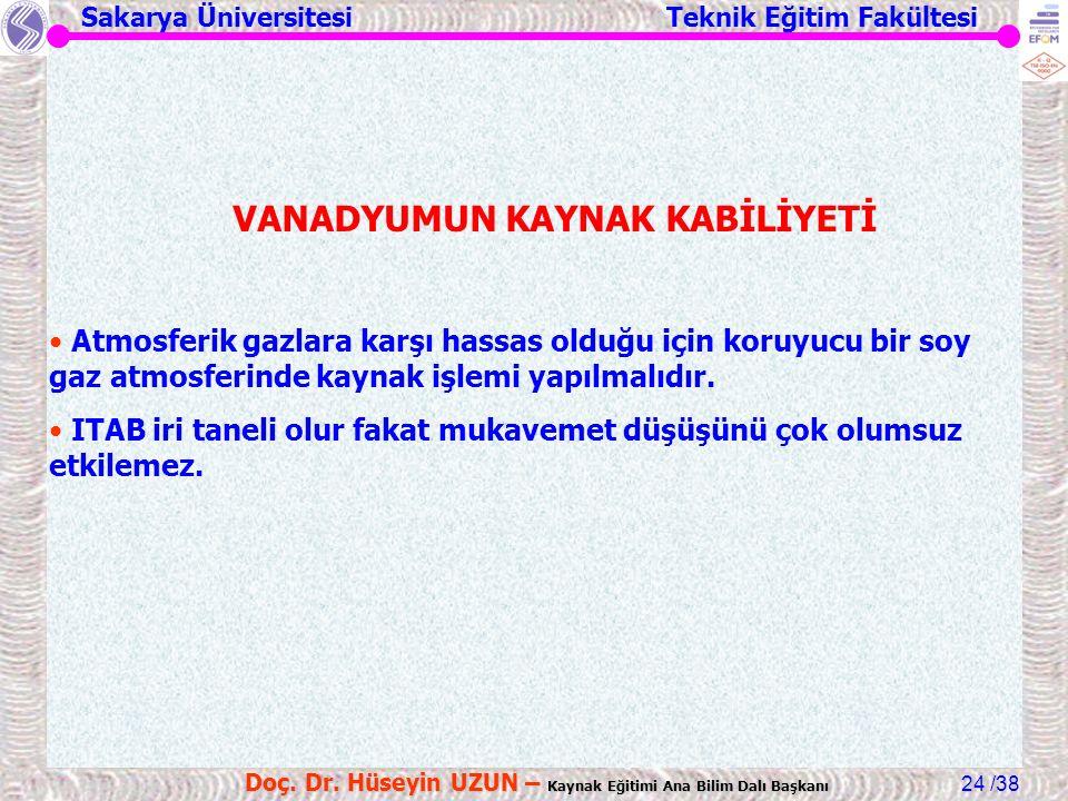 Sakarya Üniversitesi Teknik Eğitim Fakültesi /38 Doç. Dr. Hüseyin UZUN – Kaynak Eğitimi Ana Bilim Dalı Başkanı 24 VANADYUMUN KAYNAK KABİLİYETİ Atmosfe