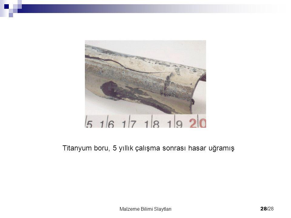 28/ 28 Malzeme Bilimi Slaytları Titanyum boru, 5 yıllık çalışma sonrası hasar uğramış