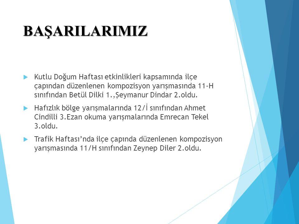 BAŞARILARIMIZ  Kutlu Doğum Haftası etkinlikleri kapsamında ilçe çapından düzenlenen kompozisyon yarışmasında 11-H sınıfından Betül Dilki 1.,Şeymanur Dindar 2.oldu.