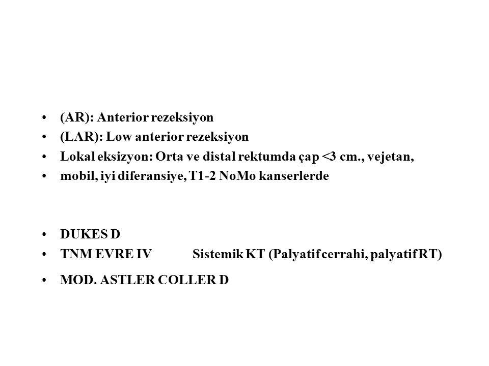 (AR): Anterior rezeksiyon (LAR): Low anterior rezeksiyon Lokal eksizyon: Orta ve distal rektumda çap <3 cm., vejetan, mobil, iyi diferansiye, T1-2 NoM